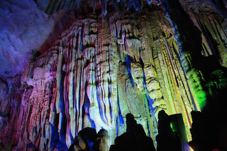 calcium carbonate: Underground in a lighted cave Stock Photo