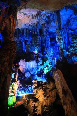 calcium carbonate: Underground lighted in a cave
