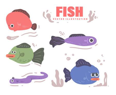 vector set of cute fish  .  fish vector illustration