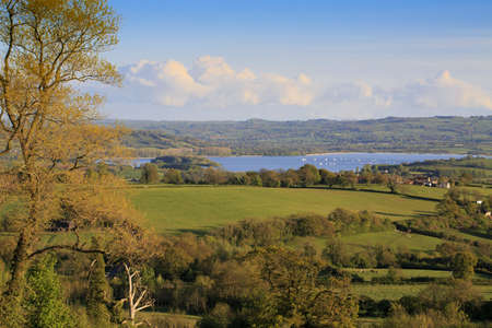 View to Chew Valley Lake reservoir on a sunny evening photo