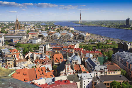 View of Riga skyline towards TV tower Standard-Bild