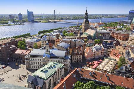 View of Riga towards Vansu Tilts bridge Standard-Bild
