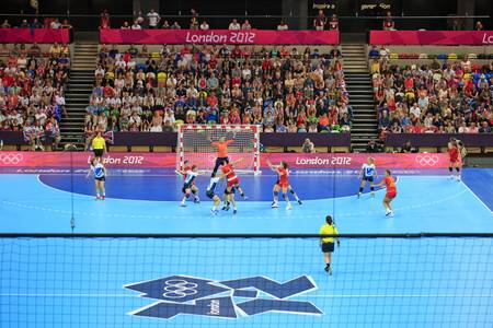 LONDON, ENGLAND - 28. Juli Copper Box, GB vs Montenegro Damen Handball GB inauguralwomen