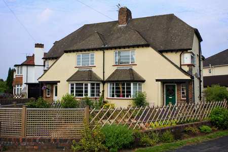 typical: Typical 1930s cream colored semi detatched house with Bay Window, in Bristol, England