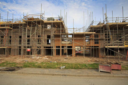 Building of new housing estate with scaffolding in Bristol, UK Editorial