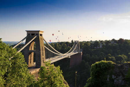 suspension bridge: Clifton suspension bridge and Balloon Fiesta, Bristol, UK Editorial