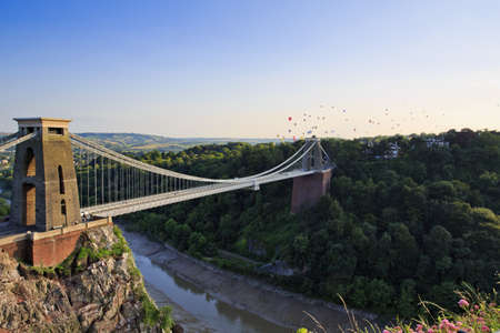Clifton suspension bridge and Balloon Fiesta, Bristol, UK Editorial