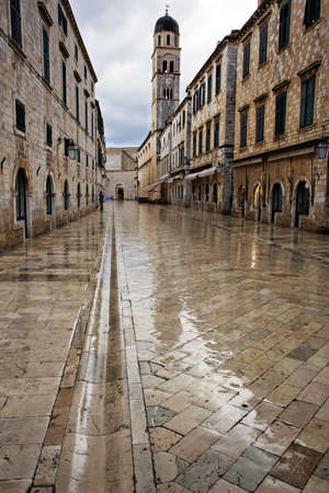 Dubrovnik in the dawn rain with beautiful reflections photo