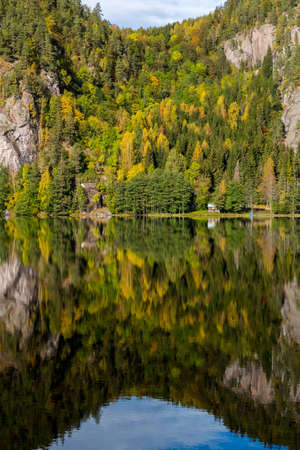Autumn reflections of a steep tree covered cliff in a tranquil lake Standard-Bild