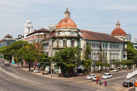 Yangon, Myanmar, 8 Nov 2015. Yangon downtown area is full of many crumbling colonial buildings Editorial
