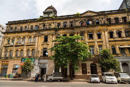 Yangon, Myanmar, 8 Nov 2015. A crumbling poorly maintained building is home to the Lokanat Gallery