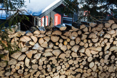 Close up of freshly chopped wood pile with a cabin in the background in the forest North of Oslo Standard-Bild