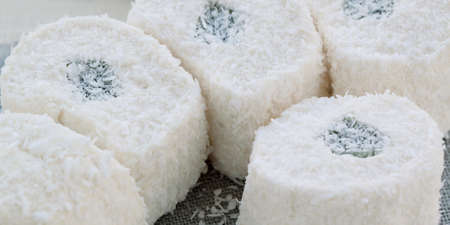 a few pieces of white rahat-lokum in a coconut crumb Banco de Imagens