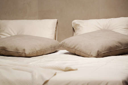 cozy pillows on the bed for sleeping and rest Banque d'images