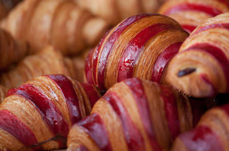 fresh delicious traditional croissants prepared for breakfast in a cafe or restaurant
