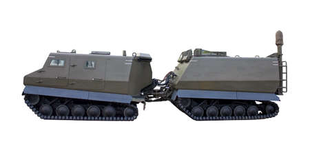 militarily: Military vehicle on white background and trailer