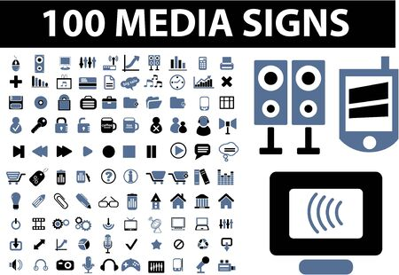 icons site search: 100 media signs