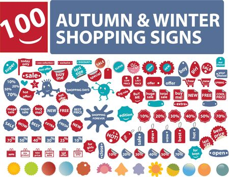 100 autumn shopping stickers Vector