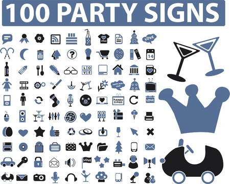 100 party signs Vector
