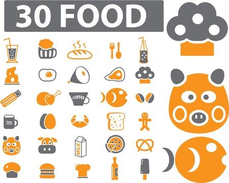 30 food signs Illustration