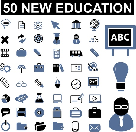 education icon: 50 education signs Illustration