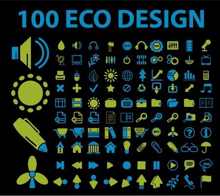 100 eco design signs Vector