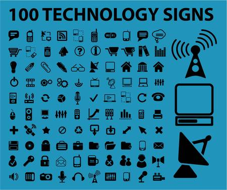 100 technology signs Vector