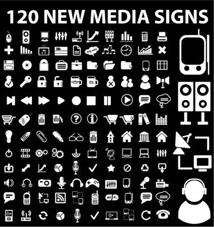 not: 120 nuevos signos de medios de comunicaci�n Vectores