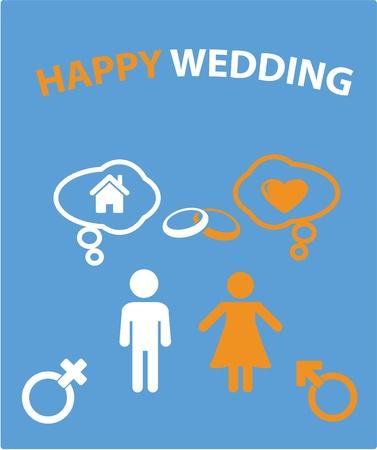 happy wedding card Stock Vector - 8904988