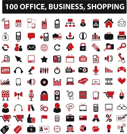 100 Oficina, negocio  Ilustración de vector