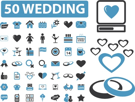 marriage cartoon: 50 wedding signs Illustration