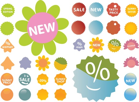 20 cute pink-green stickers Imagens - 8953136
