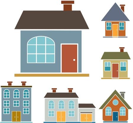 4 casas de familias Ilustración de vector