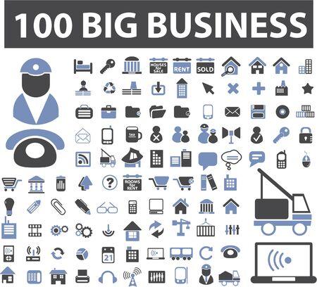 big business: 100 signos de grandes empresas Vectores
