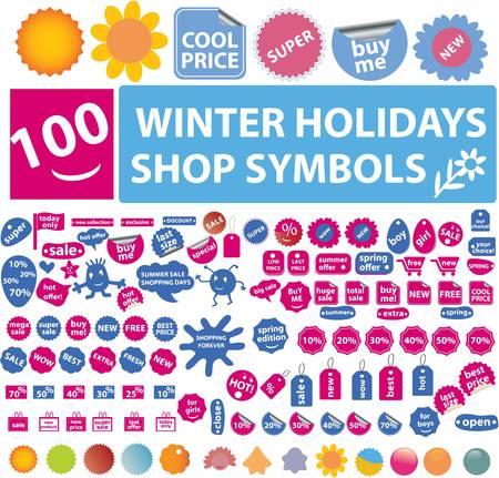 100 winter holidays shop symbols Stock Vector - 8953168