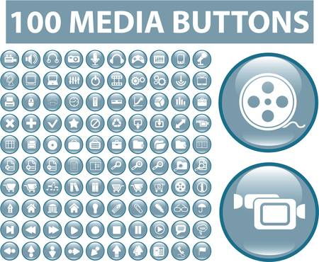 100 media blue buttons