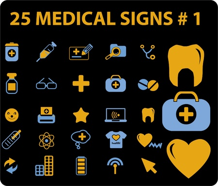 25 medical signs, vector Vector