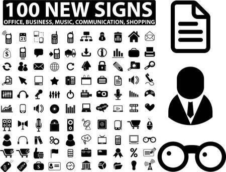 100 new office, business, media signs Illustration