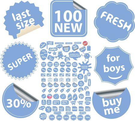100 blue stickers Imagens - 8953175