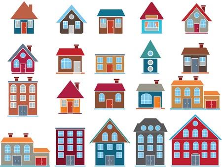 row houses: 20 buildings. vector