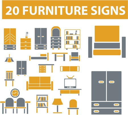 website window: furniture signs