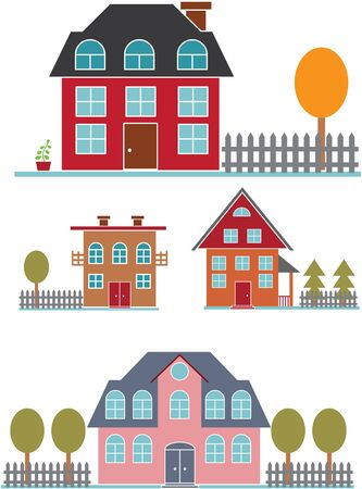 cute family buildings set Stock Vector - 8953100