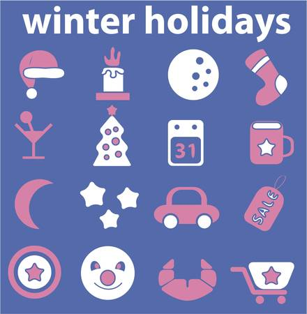 winter holidays cute signs Vector