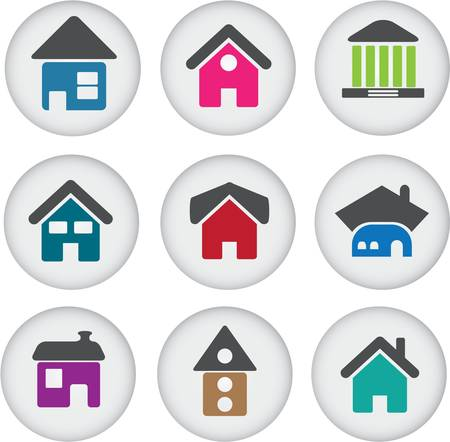 residential district: cute buildings glossy buttons