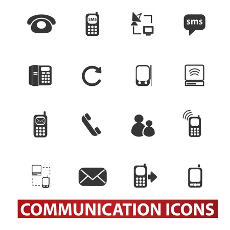 toolbar: 20 communication signs, icons set Illustration