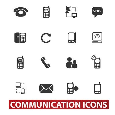 20 communication signs, icons set Ilustração