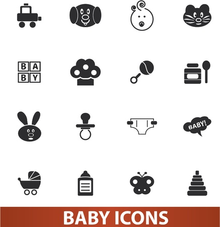 baby icons set illustration for web and design Vector