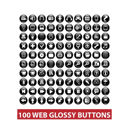 100 web black glossy buttons set Illustration