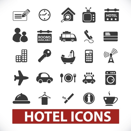 bath room: hotel icons set