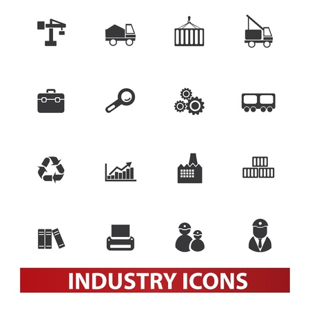 industry icons set, vector Imagens - 19089464